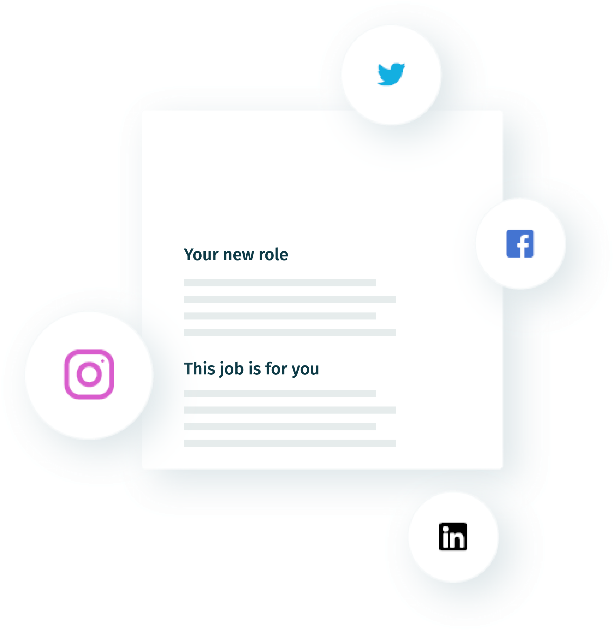 Illustration of job ad with social media icons suraounding it